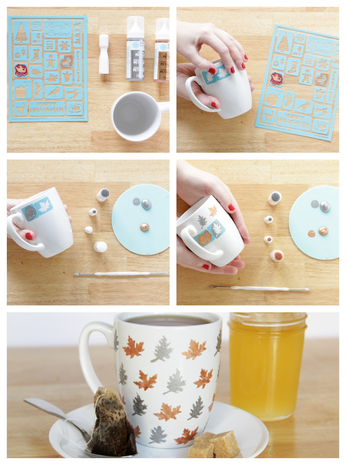 idée comment customiser un mug, tasse blanche à motif feuilles mortes avec pochoir, activité manuelle recyclage
