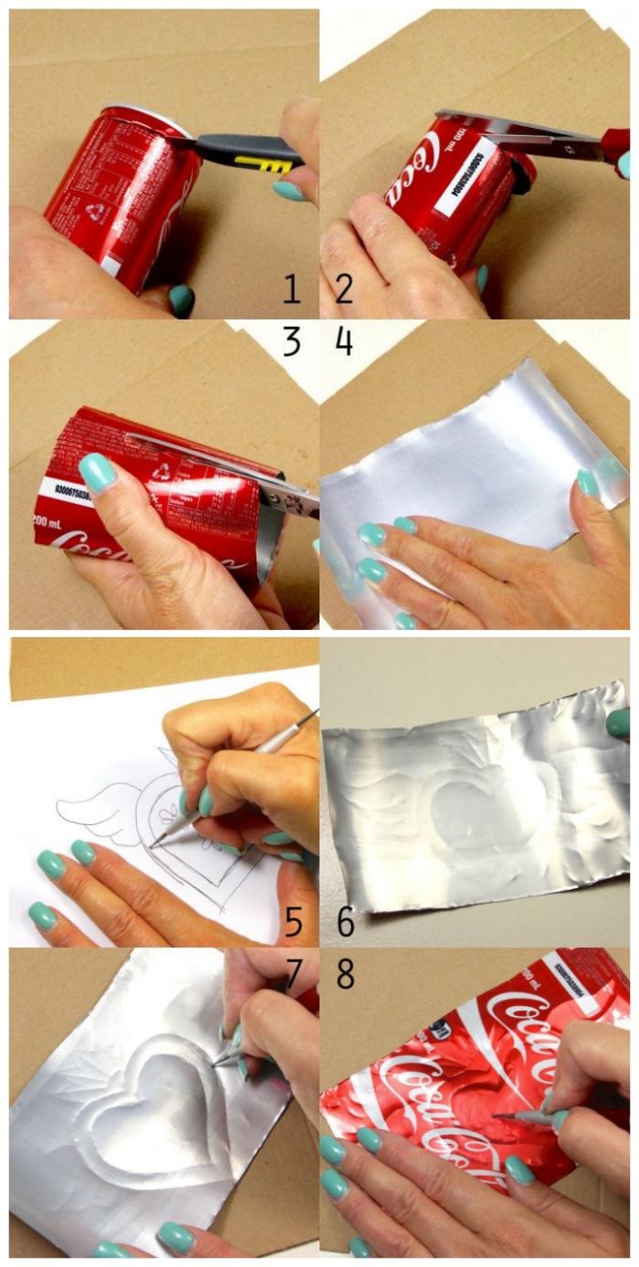 tuto bricolage créatif et original avec des canettes de soda recyclées, joli coeur en canette de coca cola