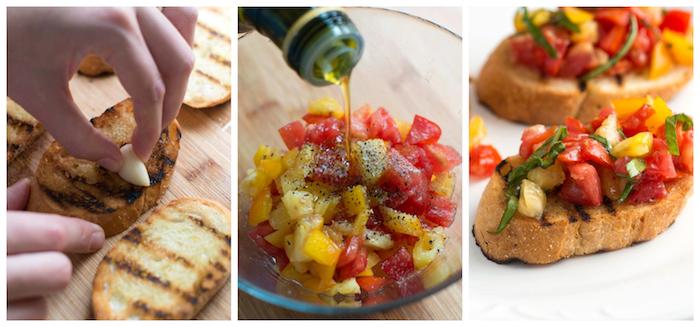 recette bruschetta facile, tranches de baguette grillée à l ail avec des tomates au huile d olive, poivre et sel