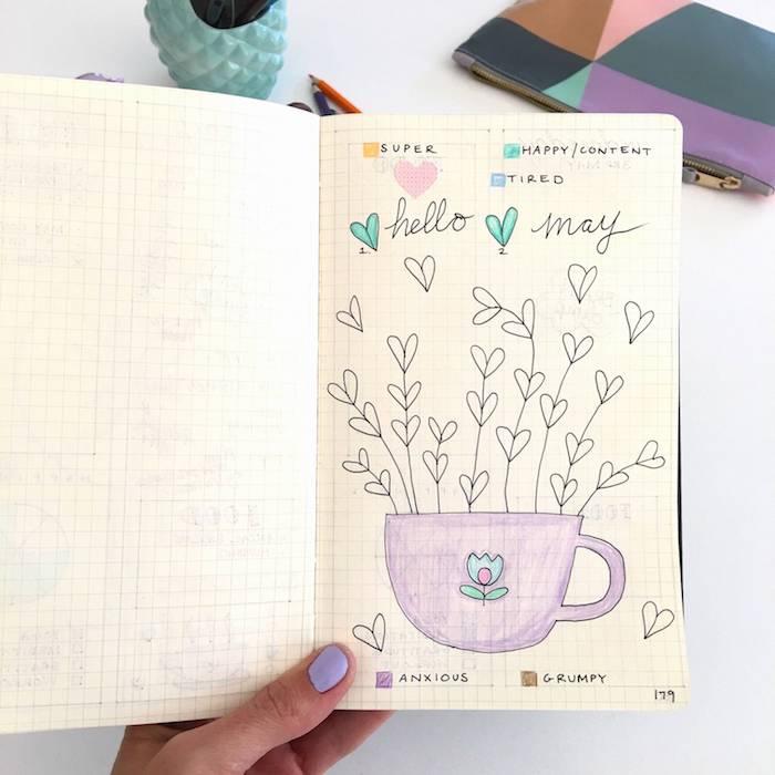 idée de mood tracker pour marquer et suivre l évolution de son humeur au jour par jour, dessin à colorier