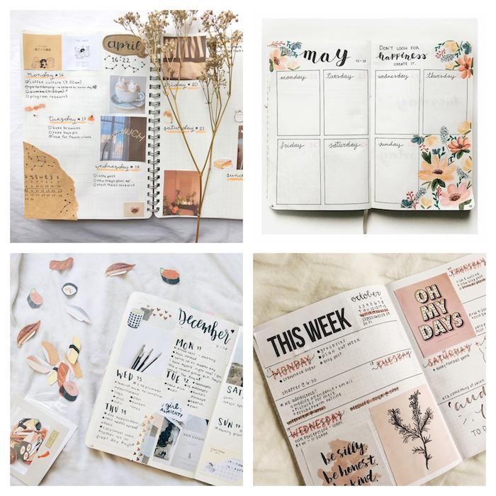 planning semainier avec les jours de la semaine et les engagements et les tâches à effectuer avec des dessins, images et photos collées