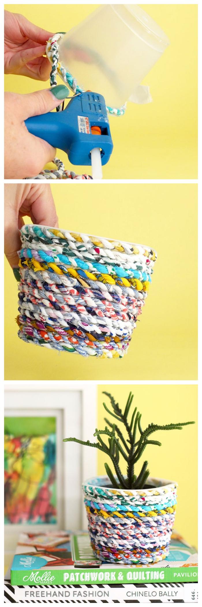 idee deco recuo avec un pot en plastique habillé de tissu recyclé, bricolage facile avec des matériaux recyclés