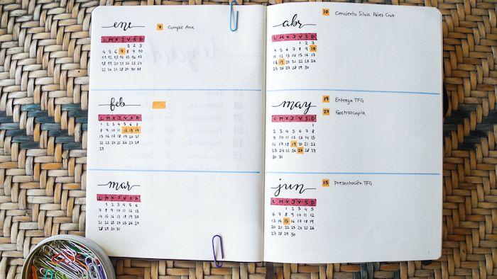 bullet journal idées, planning mensuel pour organiser son quotidien pendant l année, agenda personnalisable
