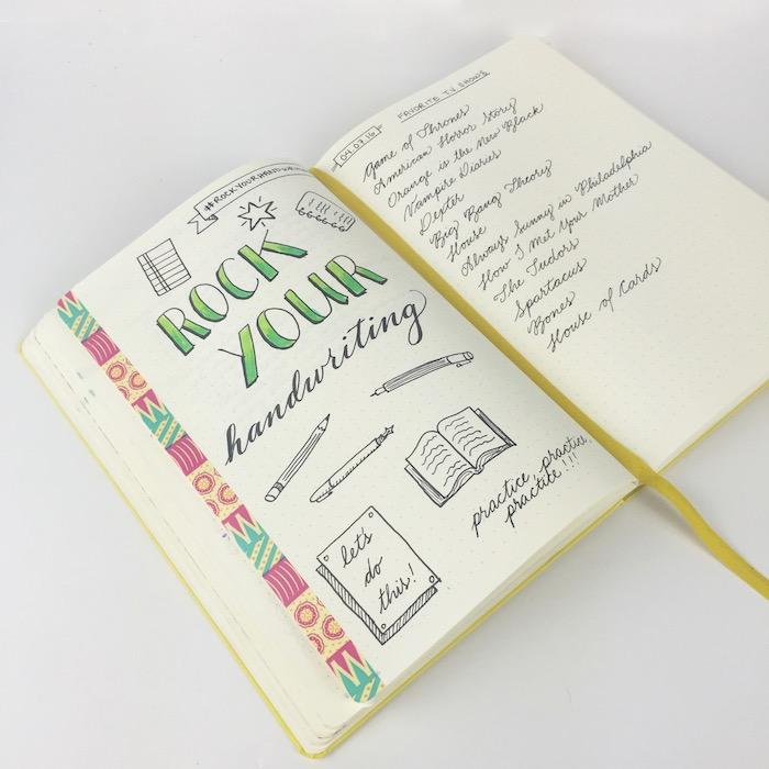 écriture calligraphique pour personnaliser son agenda, bande de washi tape colorée, dessins noir et blanc originaux