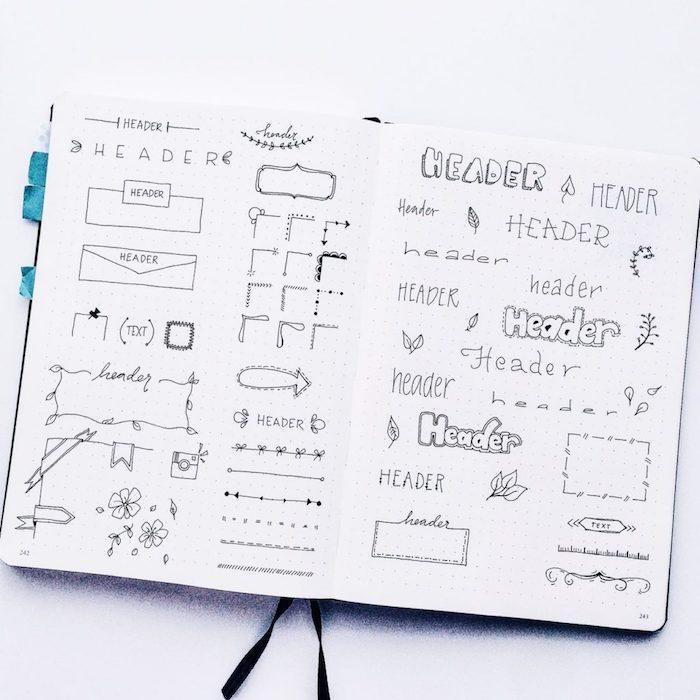 idée de bordures et décorations dessinés au feutre, comment fabriquer un carnet de note personnalisé