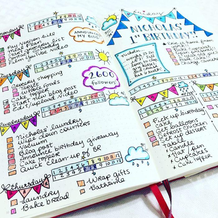 personnaliser son agenda avec de multiples couleurs, semainier avec des tâches et engagements, météo, cases et guirlandes colorées