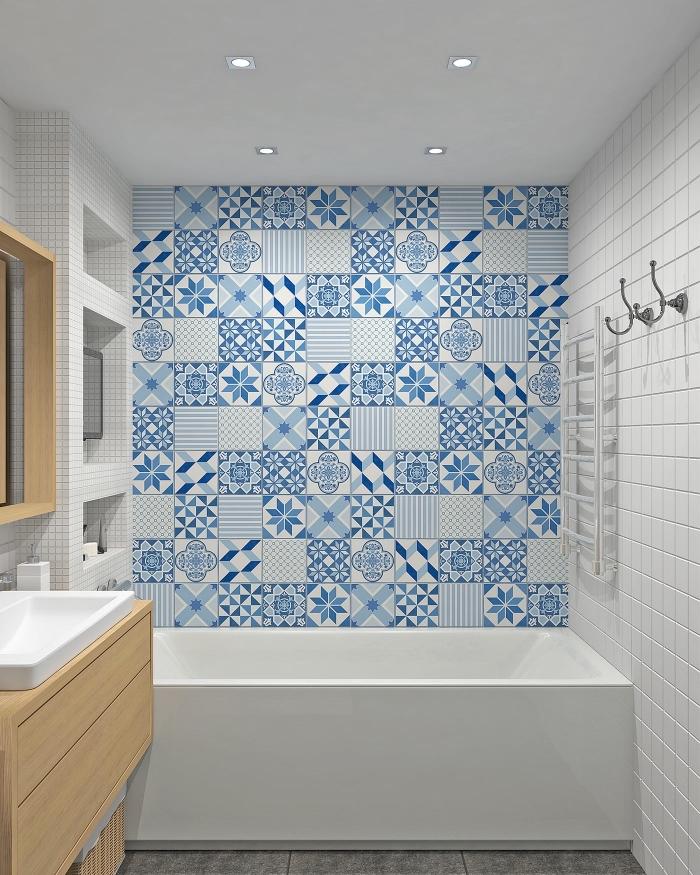idée pour amenagement petite salle de bain 4m2, quelles couleurs pour une déco stylée et moderne, exemple salle de bain avec meubles bois clair