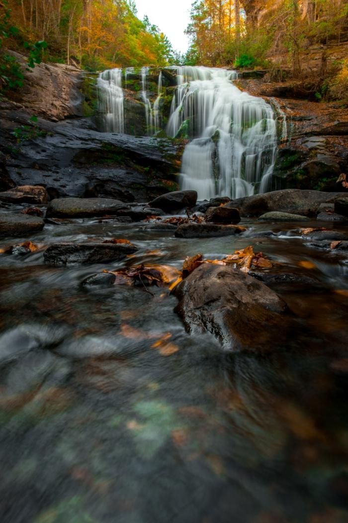 photo pour fond d'écran, jolie cascade, arbres aux feuilles bigarrées, feuilles jaunes tombées dans l'eau
