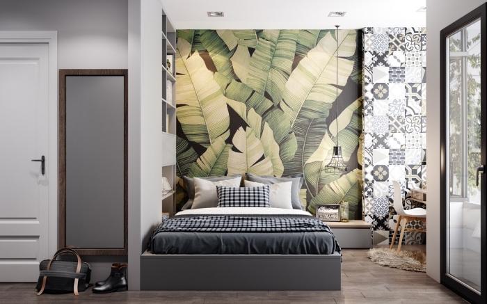utiliser du papier peint deco pour délimiter un espace, deux lés de papier peint à motifs différents juxtaposées pour définir le coin sommeil et l'espace bureau