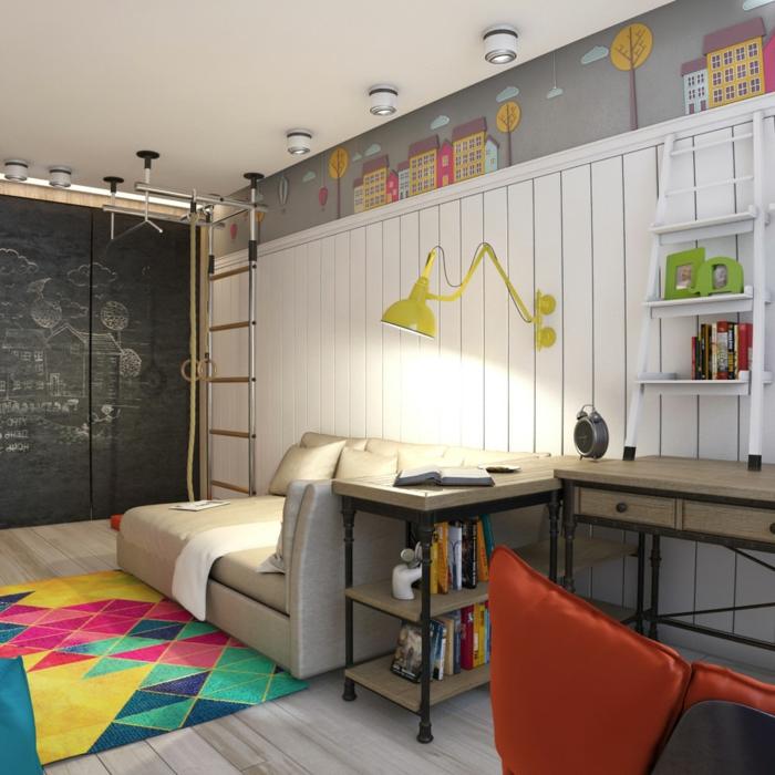 chambre gris et blanc, sol en planches, tapis multicolore, lambris bois, dessins muraux, applique jaune industrielle