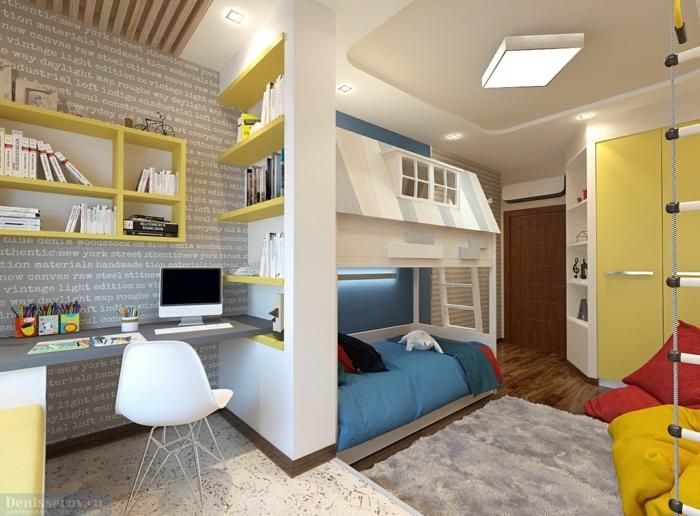 idee deco chambre garcon, bureau gris, chaise blanche et bureau suspendu, échelle suspendue, étagères jaunes