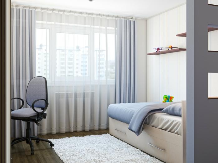 peinture chambre garçon, lit avec rangement, tapis blanc moelleux, rideau transparent, étagères minimalistes