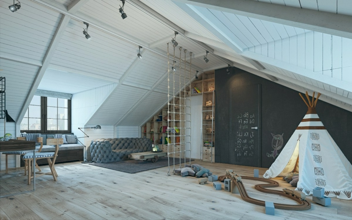 jolie chambre garcon ado, intérieur spacieux, tipi, sol en bois clair, plafond sous pente blanc