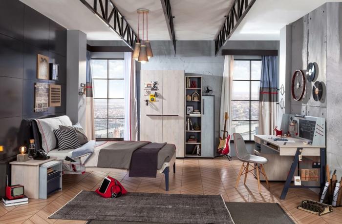 chambre grise, idee deco chambre garcon, tpis gris, plafond blanc, bureau suspendu, armoire et étagère