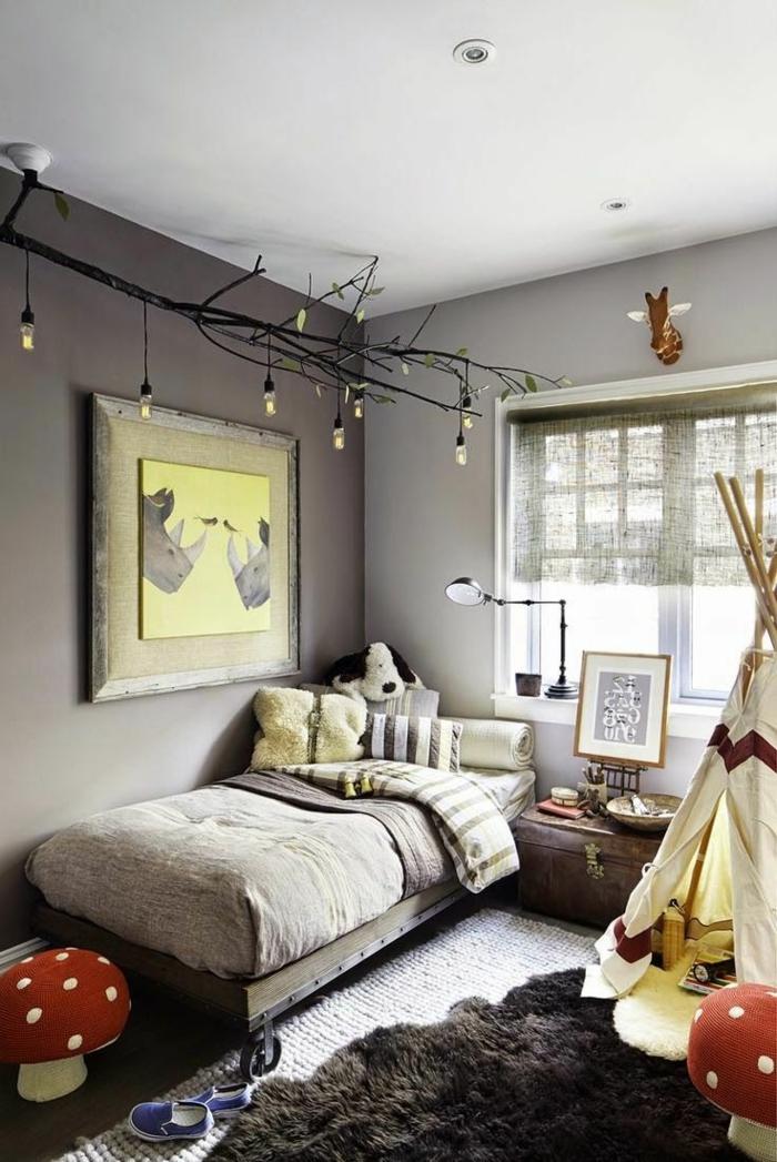 peinture chambre garcon grise, lit gris, tabouret champignon, tapis fourrure, tipi enfant