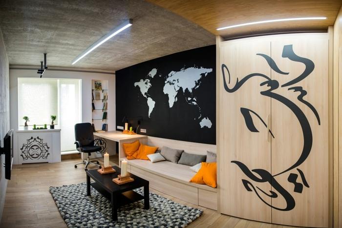 chambre enfant garcon, tapis rectangulaire, table basse rectangulaire, armoire en bois clair, plafond béton