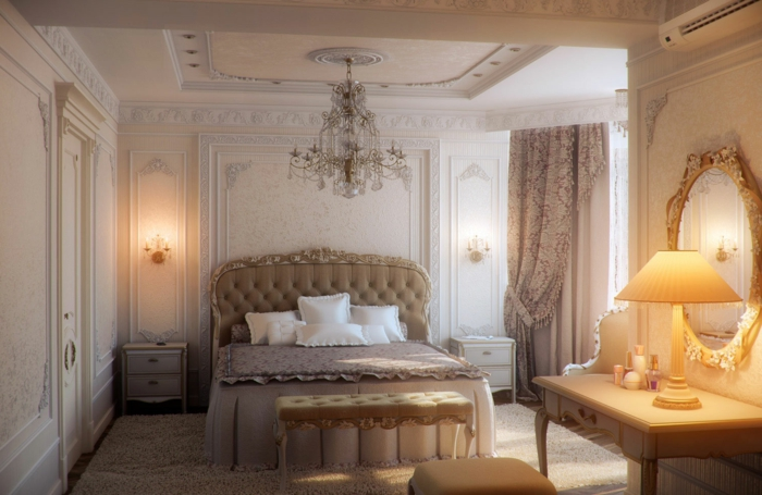 deco chambre parentale romantique, miroir baroque, lampe abat-jour, banquette de lit, tête de lit baroque