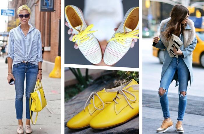 derbies femme look décontracté en jeans et chemise bleus avec accessoires colorés, modèle de derby de couleur jaune