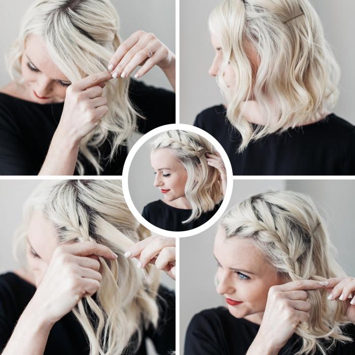 faire une coiffure pas à pas aux cheveux wavy détachés avec une tresse française de côté, tuto facile coiffure cheveux mi longs