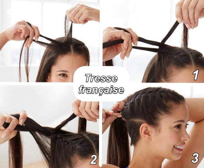 tutoriel pour apprendre comment faire une tresse française facile, étapes à suivre pour réaliser une coiffure avec tresse