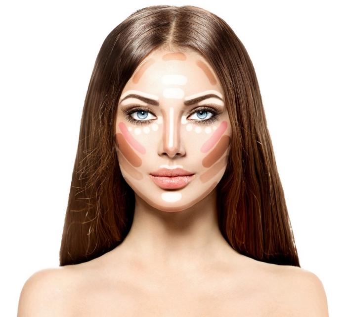 exemple comment marquer les contours pour affiner son visage, idées comment utiliser une palette contouring facile