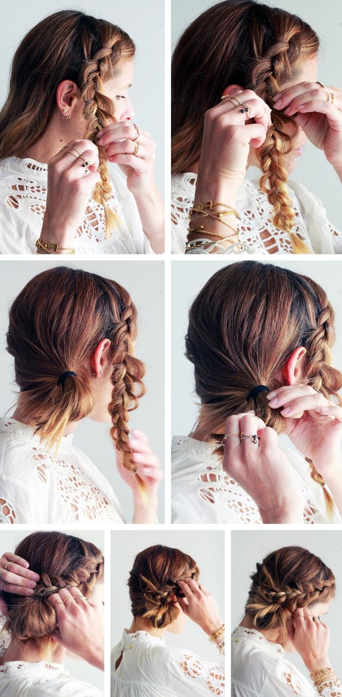 tutoriel coiffure tresse cheveux courts ou longs ramassés en chignon bas de côté avec une couronne de tresse de côté