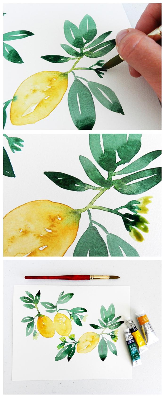 tuto aquarelle pour apprendre à réaliser une branche de citrons, idée pour un art encadré à l'aquarelle facile à réaliser soi-même