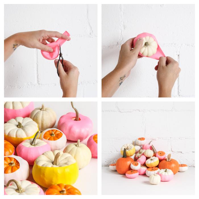 idée de bricolage decoration a faire soi meme avec mini citrouille decoration ballon coloré, deco interieur hlloween automne