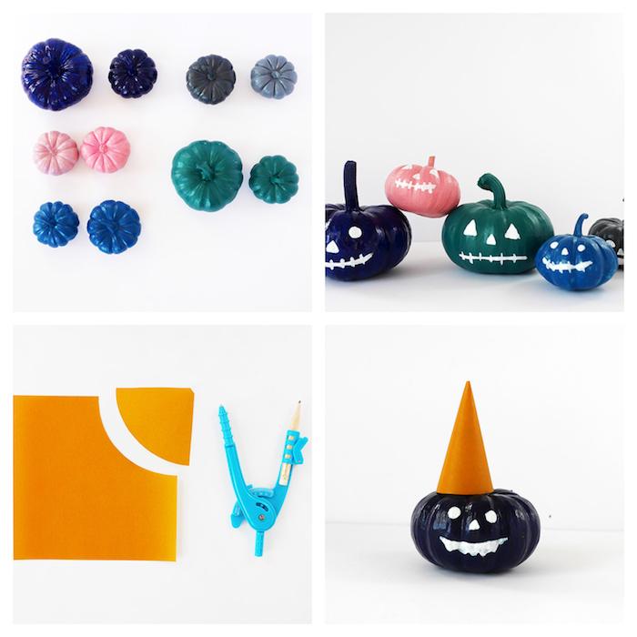 exemple d activité manuelle halloween facile a faire, citrouilles colorées de couleurs variées avec motif jack o lantern traits de visage