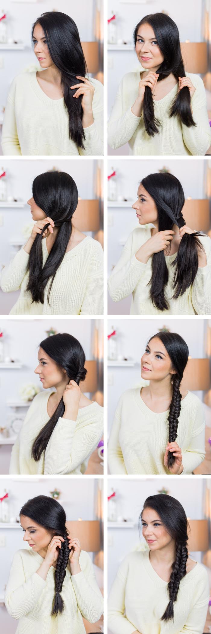 tutoriel pour maîtriser le tressage cheveux facile de côté, exemple de coiffure pour cheveux longs attachés en tresse en épi de côté
