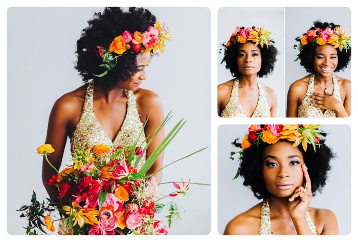 comment styliser les cheveux frisés pour un mariage, exemple de coiffure cheveux crépus courts avec couronne de fleurs et effet blow out