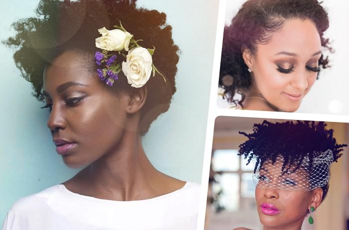 cheveux court bouclé, modèle de coiffure de mariée sur cheveux blow out avec un mini bouquet floral sur le côté