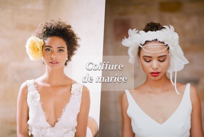 modèle de coiffure de marié romantique pour cheveux crépus courts avec fleurs, coupe cheveux frisés naturel