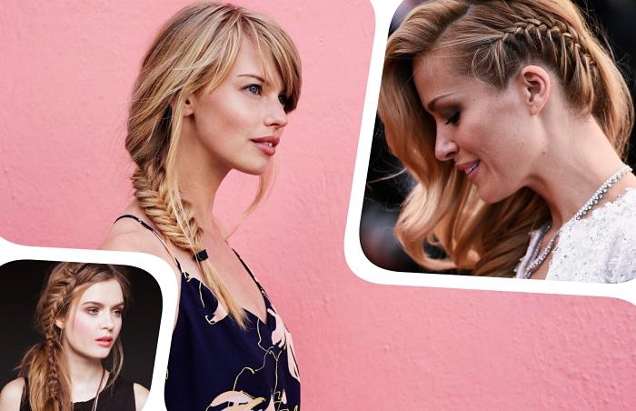 modèle de coiffure cheveux lâchés de côté avec une tresse collée de côté et bouclés, idée coiffure coupe cheveux longs avec frange