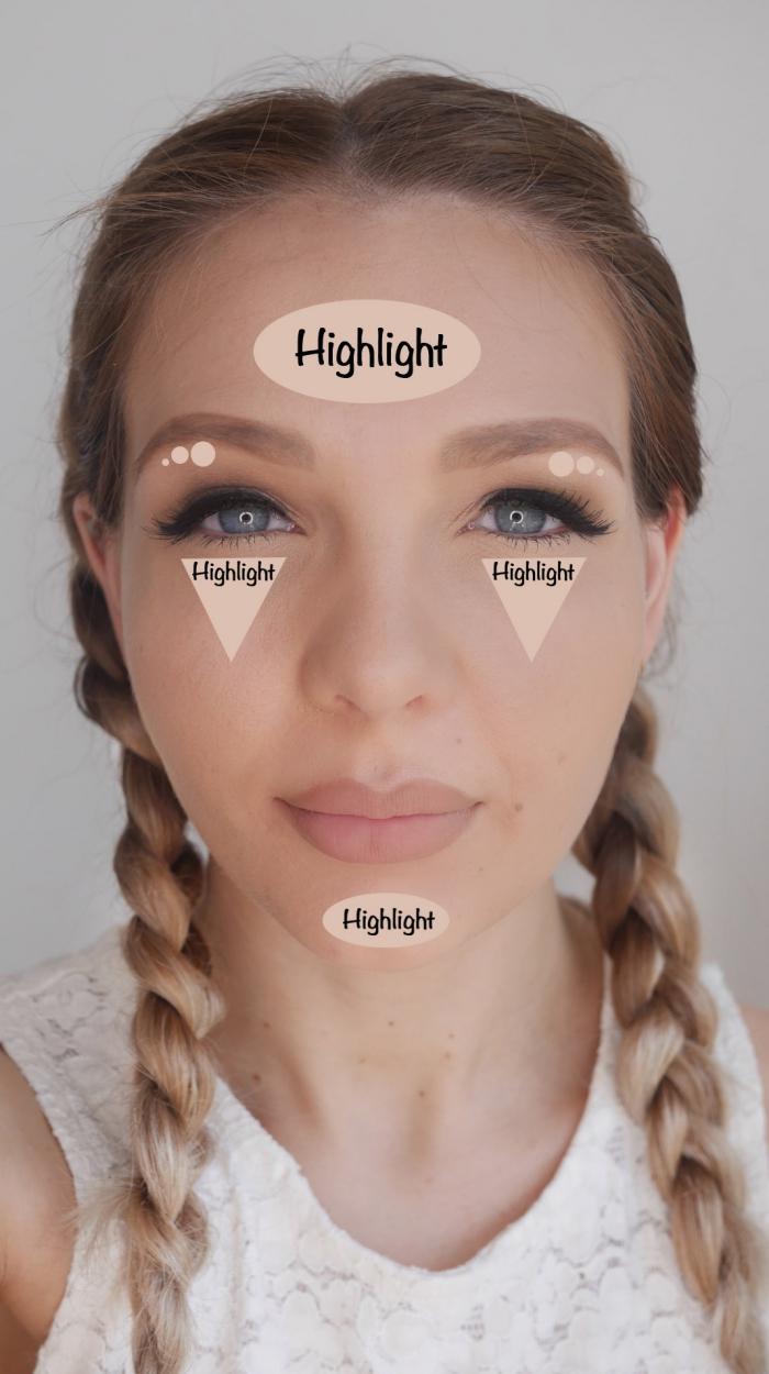 modèle de maquillage nude avec lèvres nude mate et fards à paupières beige, exemple comment réaliser contouring visage simple