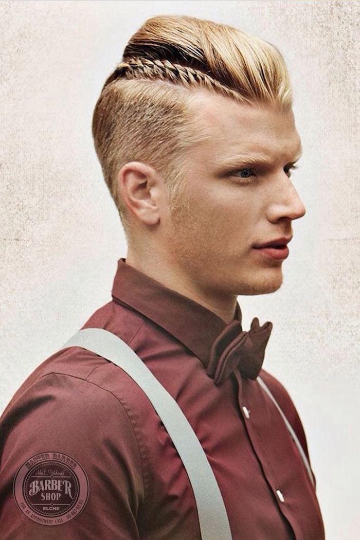 coiffure hipster homme blond style coupe viking pompadour avec tresse fine en épis de blé sur le coté