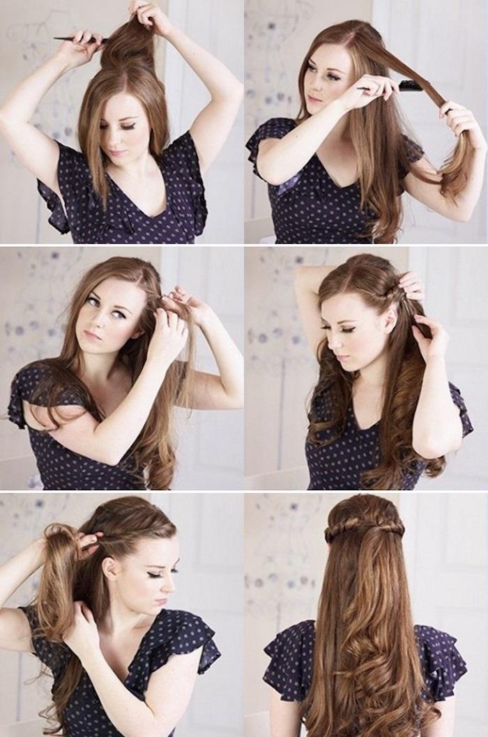 Chouette idée coiffure mariage champetre diy, coiffure cheveux long mariage tutoriel étape par étape, image coiffure facile pour invité à mariage champetre