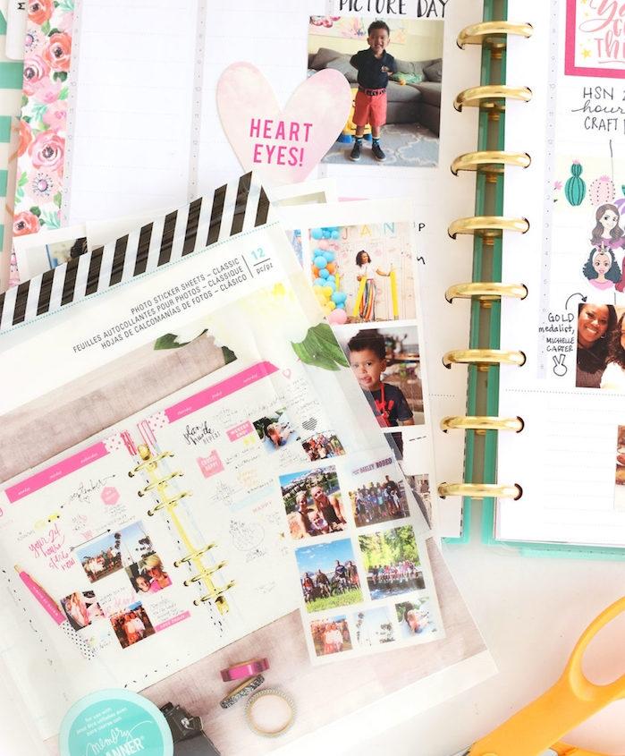 décoration de photos colorées à coller dans son diy agenda pour créer des pages personnalisées