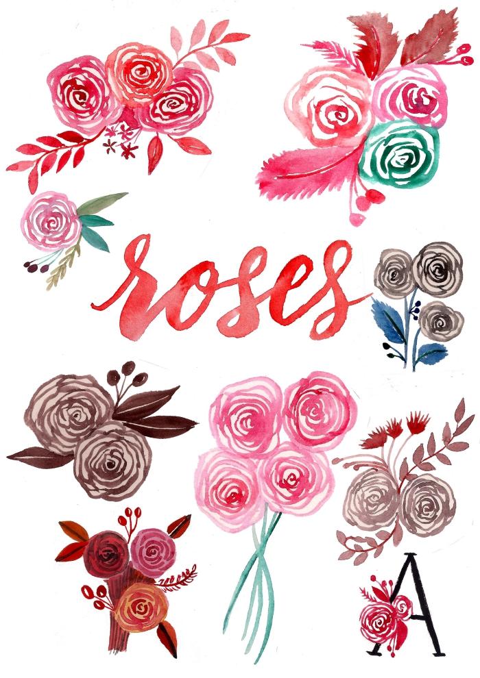 comment dessiner une rose, apprendre à réaliser de jolies roses peintes à l'aquarelle
