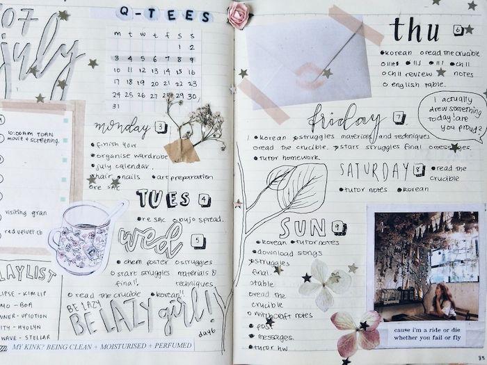 customiser son agenda avec des dessins, écriture, photos et enveloppes, techniques scrapbooking décoratives
