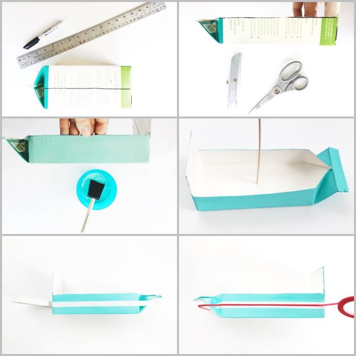 comment faire un bateau à partir d'une brique de lait recyclée, activité manuelle primaire avec des matériaux recyclés