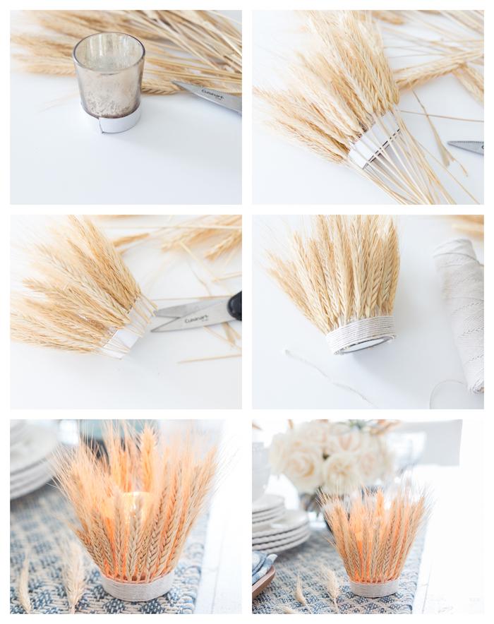 bougeoir DIY en petit verre enveloppé d épi de blé et ficelle avec une bougie à l intérieur, bricolage automne facile et rapide