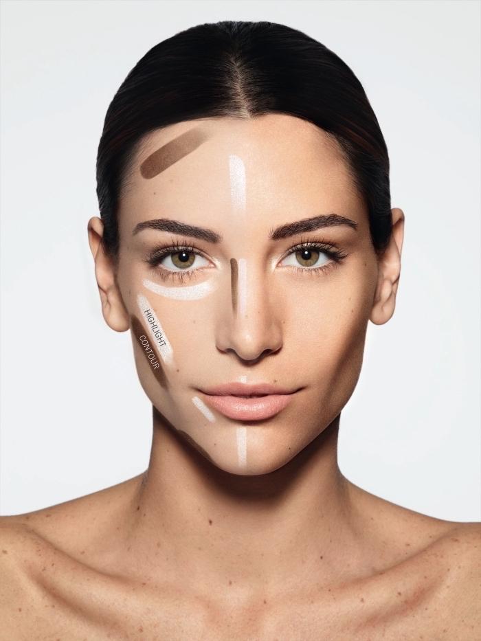 technique pour réaliser un contouring facile, exemple comment marquer les zones à illuminer et sculpter sur le visage