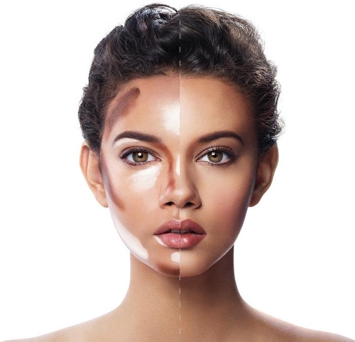 idée comment appliquer une teinte foncée pour sculpter le front et les joues, modèle de contouring facile à réaliser