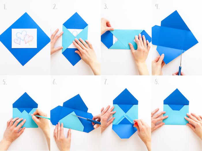 comment faire une enveloppe en papier bleu, pliage simple et rapide pour créer son agenda personnalisé