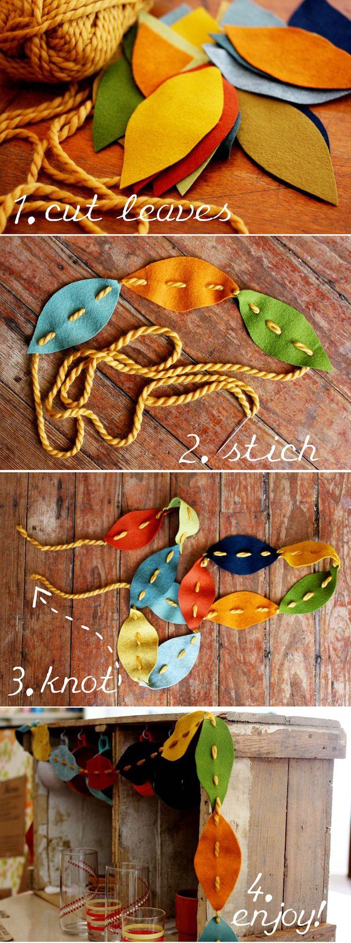 comment faire une guirlande en fil de laine et feuilles en feutrine colorées sur une cagette de bois brut