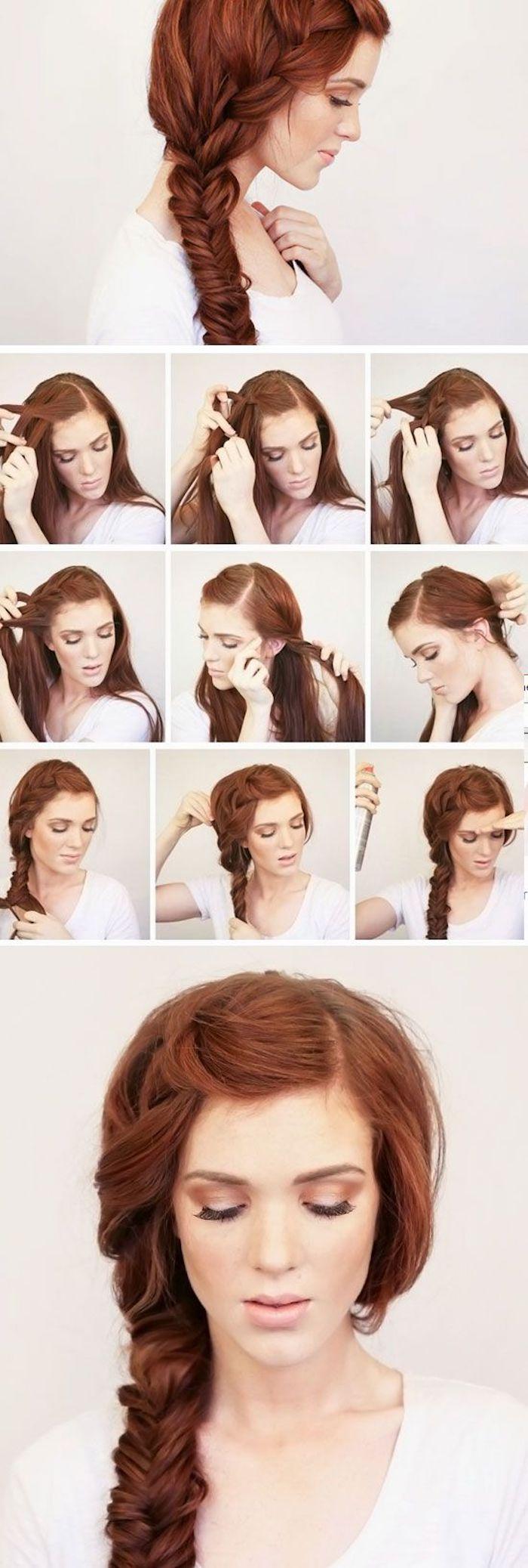 Mariage coiffure tresse longue, coiffure de mariage cheveux long, coiffure mariage bohème beauté, femme cheveux roux, belle couleur de cheveux, comment faire une longue tresse épais