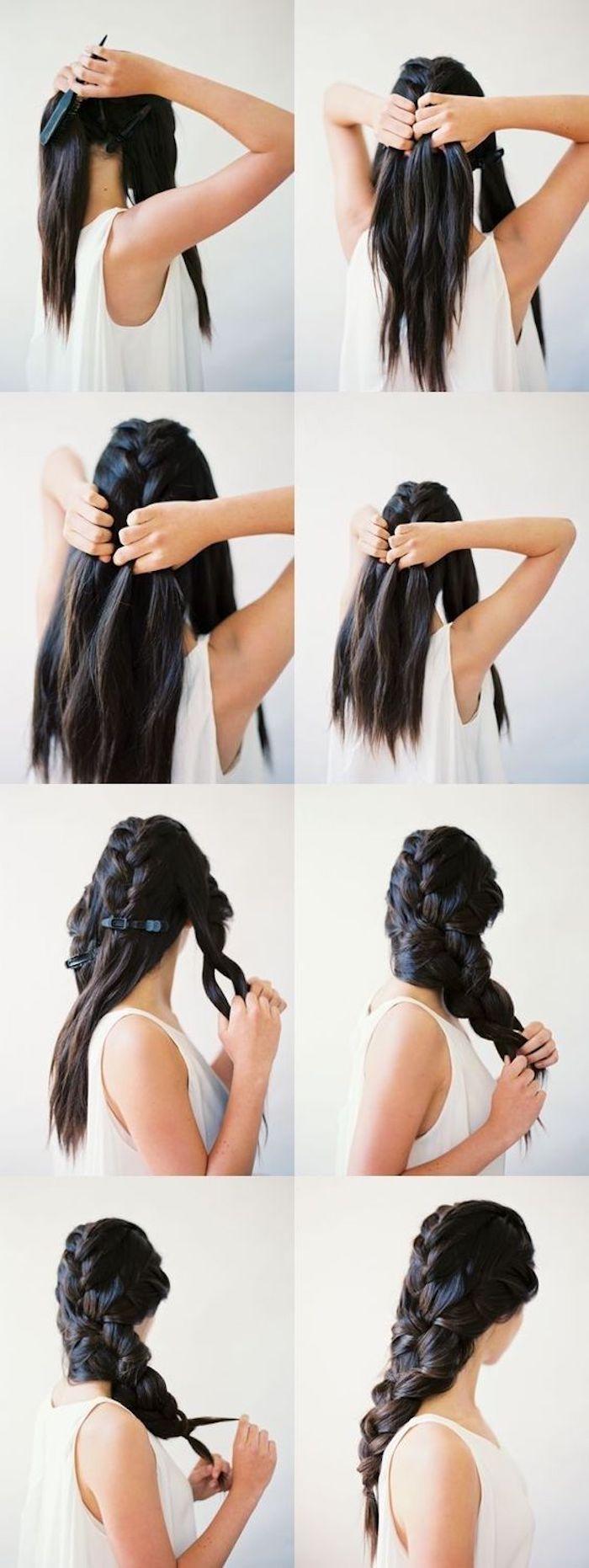 Chic coiffure bohème coiffée decoiffée, coiffure mariage cheveux long, femme coiffure mariage tresse princesse de disney