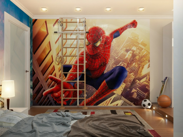 comment décorer la chambre enfant garcon, poster mural spiderman, intérieur moderne
