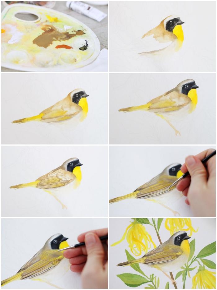 peinture aquarelle naturaliste d'un joli oiseau perché sur une branche, réalisée avec une grande précision